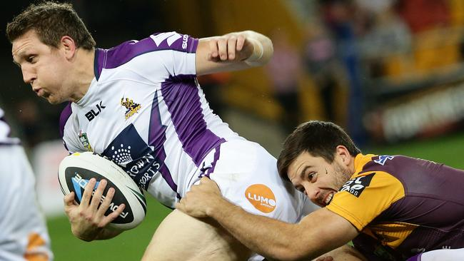 Ryan Hoffman was one of the Storm's best performers in their tight victory. Pic: Peter Wallis