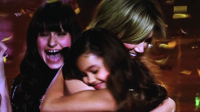 Winner Alexa embracing Delta Goodrem. Picture: Channel 9.