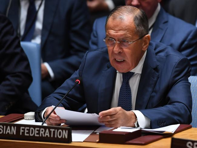 Russian Foreign Minister Sergei Lavrov speaks at a meeting of the UN Security Council on peacekeeping operations, during the 72nd session of the General Assembly in New York on September 20, 2017. Picture: Timothy A Clary/AFP