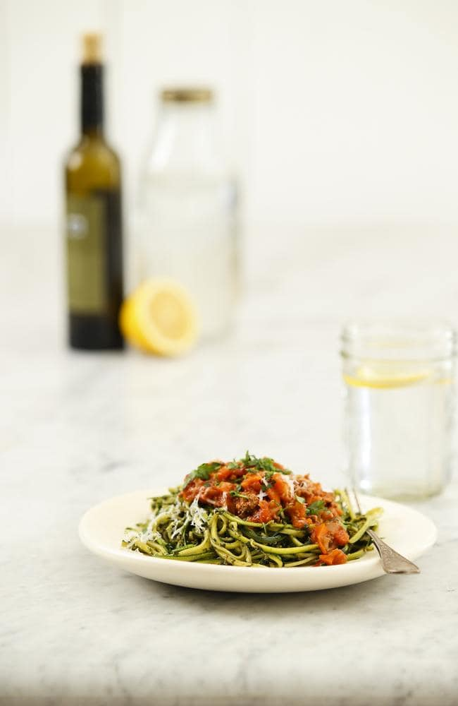 Cutter's paleo version of spaghetti bolognese. Picture: Justin Lloyd