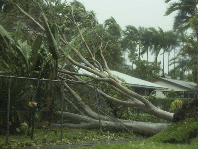 Winds create destruction as Tropical Cyclone Marcus bears down on Darwin.