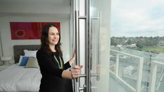 Kerrie Nightingale is looking forward to soon moving into her new home, a modern apartment in a renovated office block. Picture Nicholas Wrankmore.
