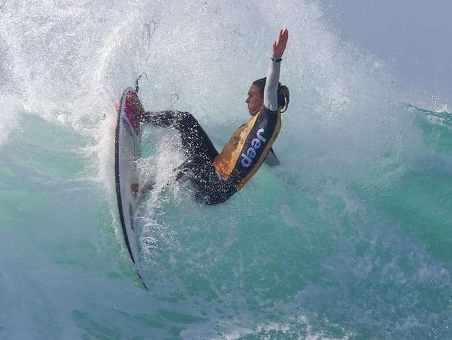 Sally Fitzgibbons surfing in France.