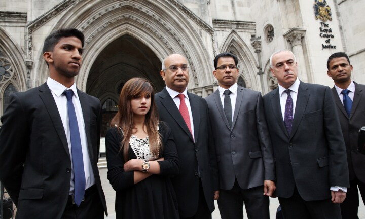 acintha Saldanha's husband Ben Barbosa, her daughter Lisha Barbosa, her son Junal Barbosa, MP Keith Vaz arrive at the Royal Court of Justice in London. Jacintha Saldanha was a nurse who worked at King Edward VII's Hospital Sister Agnes in London. She was found dead by apparent suicide, three days after receiving a hoax call from the Austereo-owned station 2Day FM in Sydney, Australia. Pic Ella Pellegrini