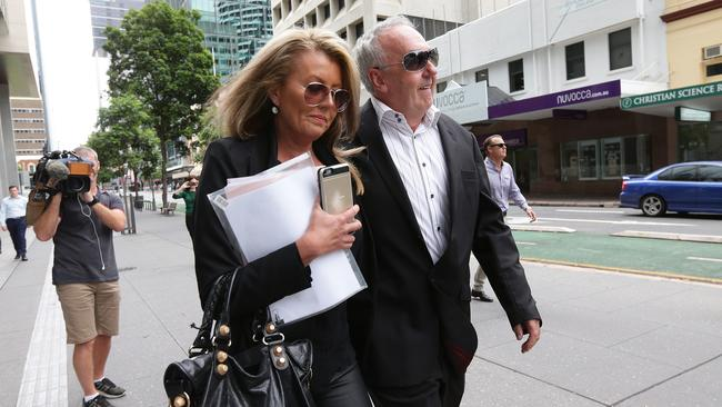 Belinda Otton, partner of Matthew Perrin, leaves court after his sentencing. Picture: Peter Wallis