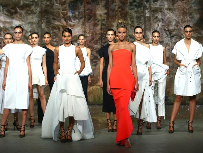 Jennifer Hawkins and Shanina Shaik showcase designs by Maticevski on the runway at the Myer AW16 Fashion Launch in Sydney, Australia. Picture: Mark Metcalfe