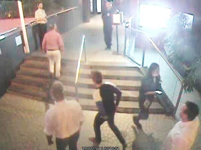 CCTV still image of Prince Frederik and his entourage approaching Jade Buddha in Brisbane.