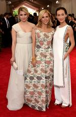 """Dianna Agron, Tory Burch and Maggie Q attends the Met Gala 2015 """"China: Through The Looking Glass"""". Picture: Getty"""