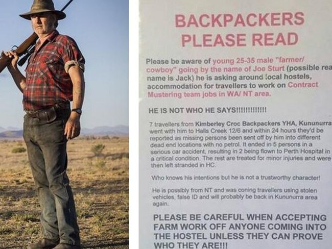 Warning to backpackers ... Actor John Jarratt as Mick Taylor in Wolf Creek 2 and the poster put up at Kimberley Croc Backpackers YHA.