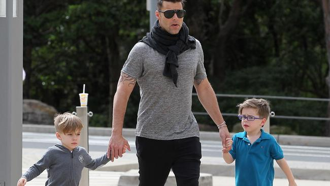 Ricky Martin with his sons in Sydney earlier this year.