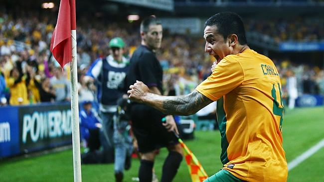 Tim Cahill celebrates after scoring against Costa Rica. (Photo by Matt King/Getty Images)