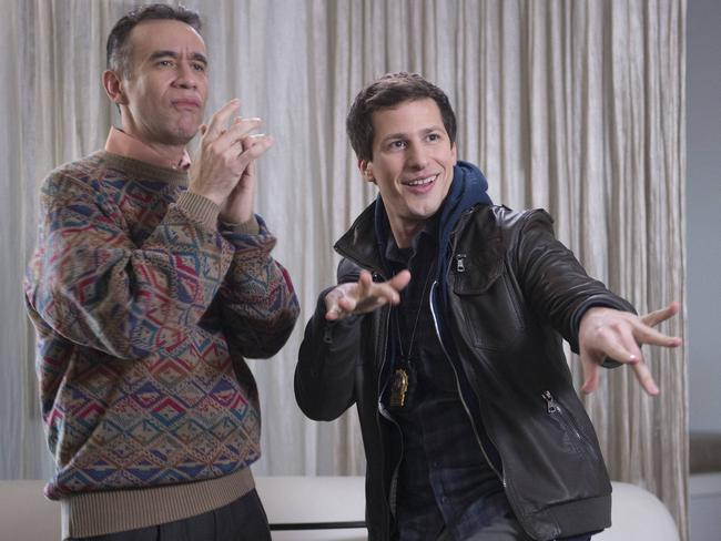 Samberg with guest star Fred Armisen in a scene from the show. Picture: AP