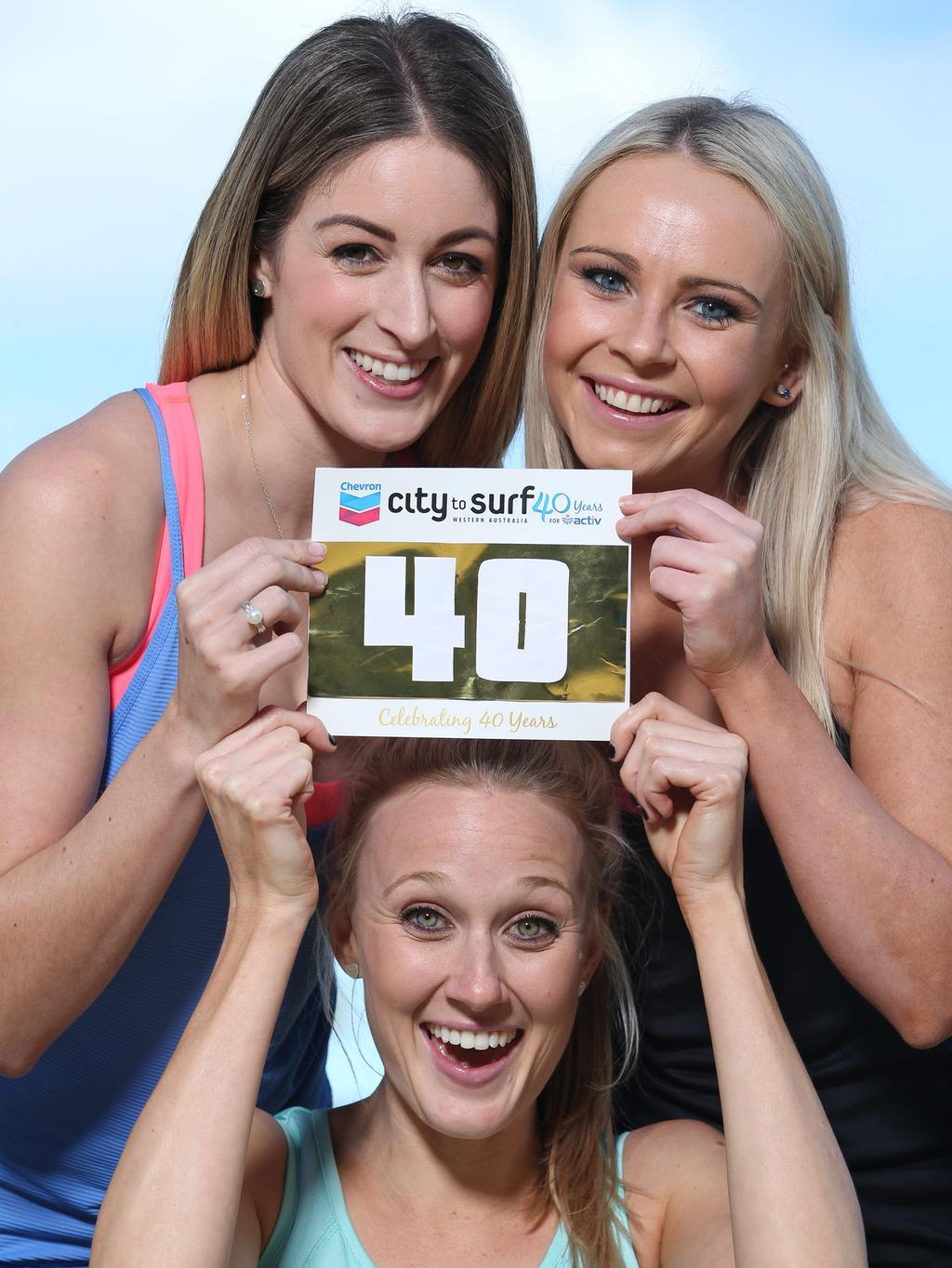 At this year's City to Surf the #40 will be gold and auctioned off for charity to mark the 40th anniversary of the event. Clockwise from top left: Simone Lawler (27), Jess Rudland (26) and Nicole Miller (27).