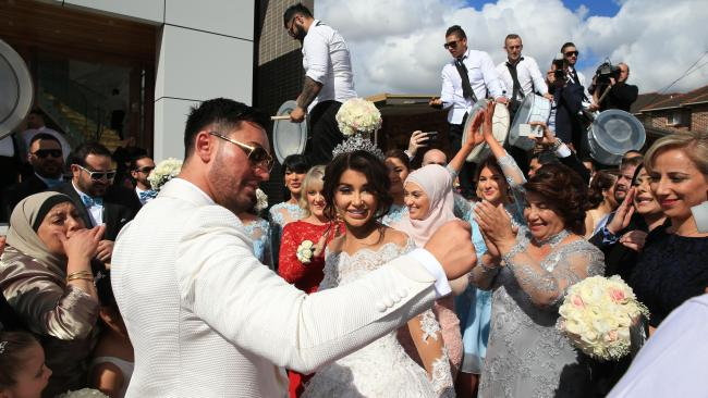 Salim Mehajer holds his lavish wedding in Lidcombe which involved 4 helicopters, over 30 super cars, 50 motorbikes, a jet flyover and over 100m of red carpet. Picture: Toby Zerna