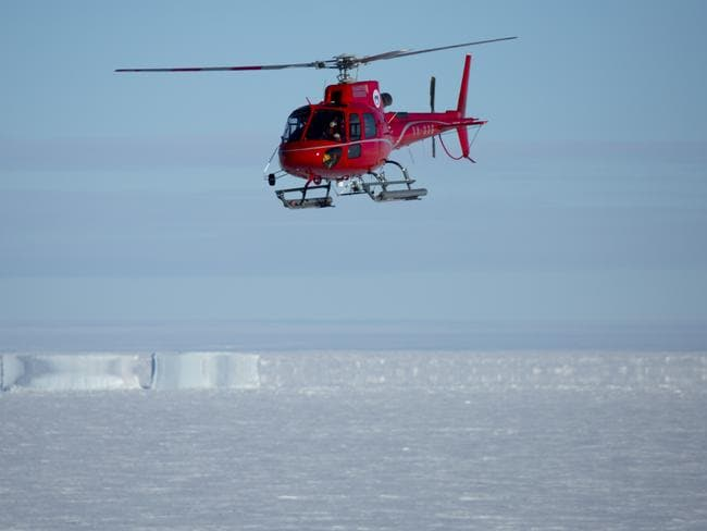 An injured pilot was medically evacuated to Australia's Davis station after falling into a crevasse on a remote ice shelf in Antarctica. Picture: AAP