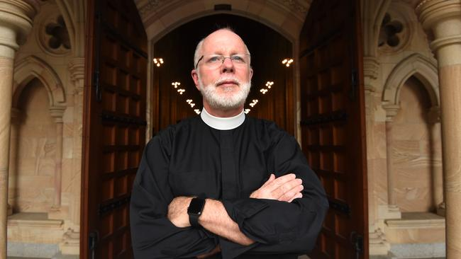 Anglican Dean of Brisbane Dr Peter Catt poses is leading a sanctuary offer by Anglican churches around Australia to asylum seekers facing deportation to Nauru. Picture: AAP Image/Dan Peled
