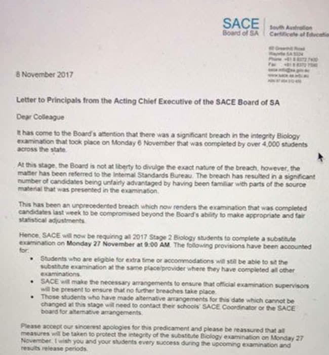sace board_SACE hoax letter tells students to resit biology exams | Adelaide Now