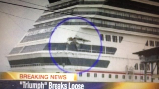CarnivalTriumph Cruise ship damage after breaking away from dock. Picture: John Sharp / Twitter
