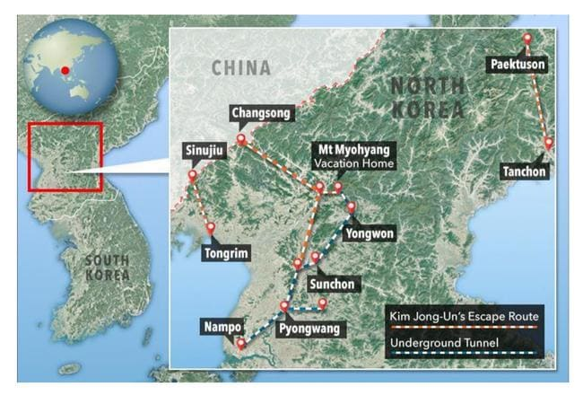 Where Kim Jong Un can escape to in the event of a nuclear war. The map is based on information from North Korean defectors. Picture: The Sun