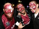 Maroons fans Aaron Schauble, Jared Kanofski and Adam Sargent ahead of State of Origin III.