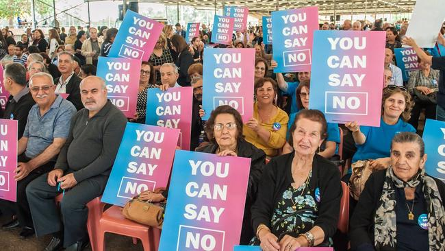 No voters rallying at a western Sydney event during the campaign.
