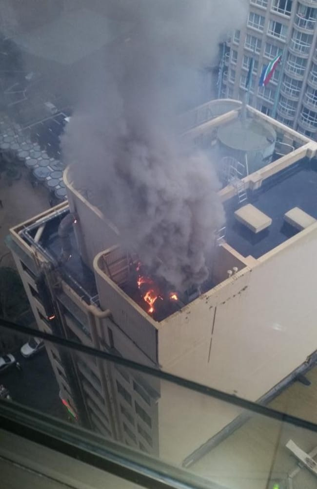 Airconditioning unit fire on top a building George street City. Picture Twitter