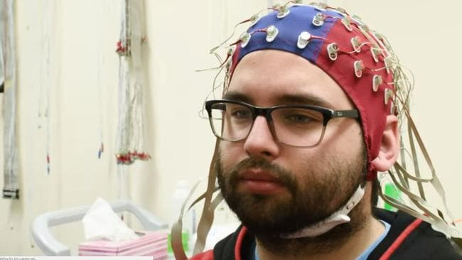 A test subject hooked up to have his brain scanned. Source: University of Toronto Scarborough