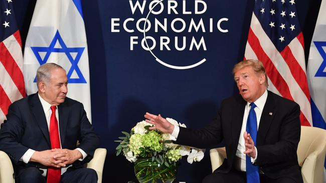 US President Donald Trump had a warm meeting with Israel's Prime Minister Benjamin Netanyahu. Picture: AFP/Nicholas Kamm