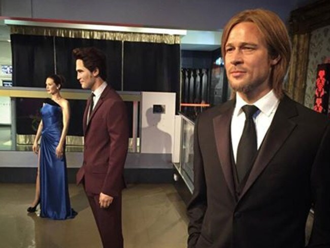 "In a clever PR stunt, Madame Tussauds London has ""diplomatically separated"" the wax figures of Brad Pitt (right) and Angelina Jolie (left). Picture: Facebook/Madame Tussauds London"