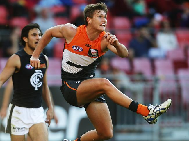 Greater Western Sydney's Adam Tomlinson during the GWS Giants v Carlton AFL match at Spotless Stadium, Homebush. Pic Brett Costello