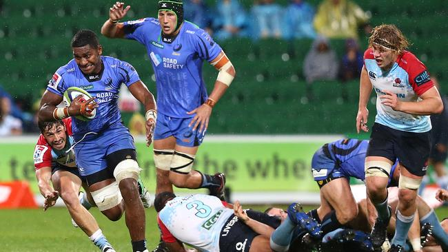 Isireli Naisarani of the Force runs the ball during the round 17 Super Rugby match between the Force and the Waratahs. Picture: Paul Kane/Getty Images