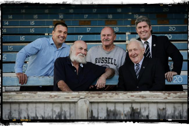 Carlton's five best players (from left) Stephen Silvagni, Bruce Doull, Alex Jesaulenko, John Nicholls and Stephen Kernahan met in the old grandstand in Princes Park this year. Picture : Colleen Petch