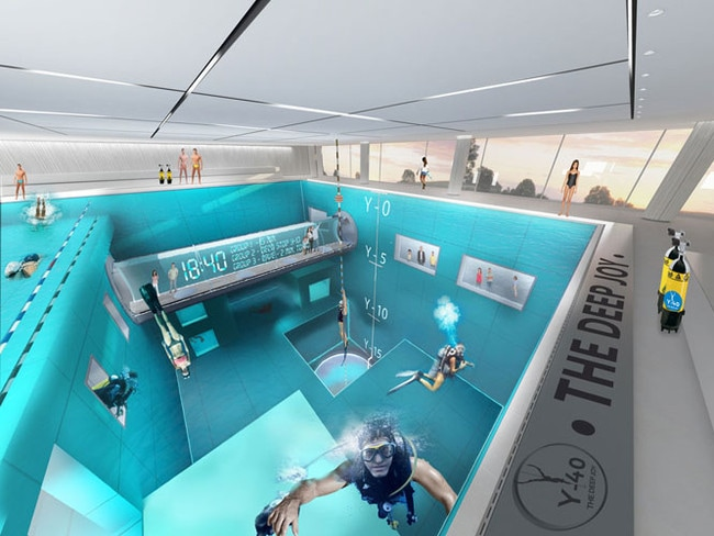 World s deepest swimming pool the y 40 deep joy is terrifying for How deep is a olympic swimming pool