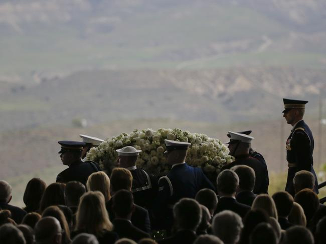 The casket carrying former First Lady Nancy Reagan leaves the funeral service at the Ronald Reagan Presidential Library in Simi Valley, California.