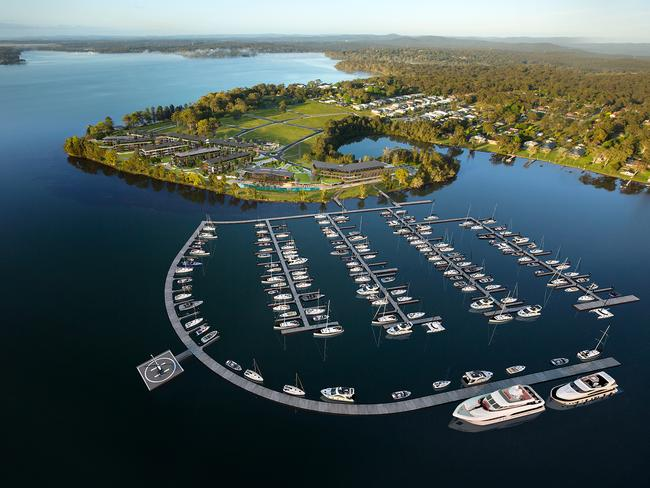 An artist's impression of Trinity Point which is set to become a luxury haven on Lake Macquarie once completed.