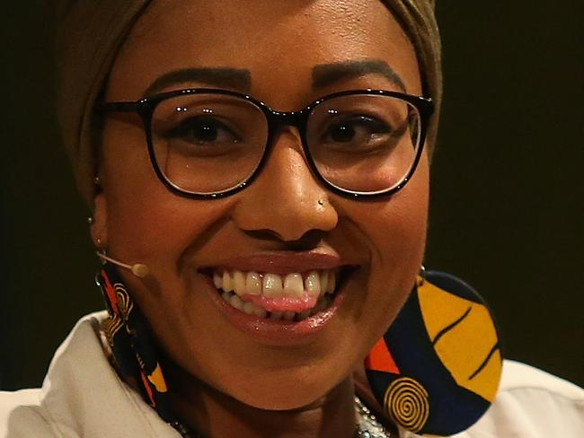 Yassmin Abdel-Magied speaking at ANU event at the National Library in Canberra. Picture Kym Smith