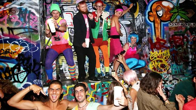 Revellers party in Union Lane during the White Night Festival. Photo: Hamish Blair