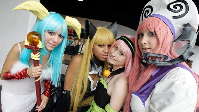 Local cosplayers pose for photos at the Japan expo dedicated to Japanese culture, cosplay events and mangas at Paris-Nord Villepinte Exhibition Center, ouside of Parisin July this year. Picture: Francois Mori