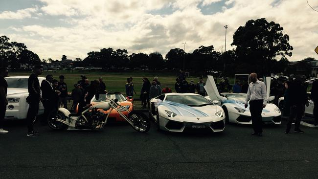A line-up of the high-performance vehicles being used in Salim Mehajer's wedding. Picture: Lia Harris