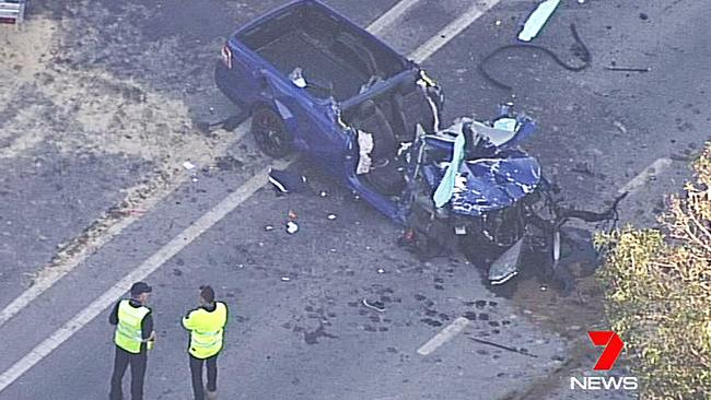 Two men had to be cut from the wreckage of their vehicles. Picture: Seven News
