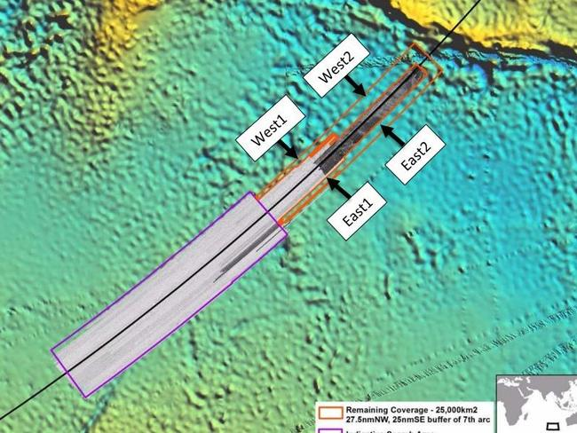 Four quarters of the proposed search area are identified. Picture: ATSB
