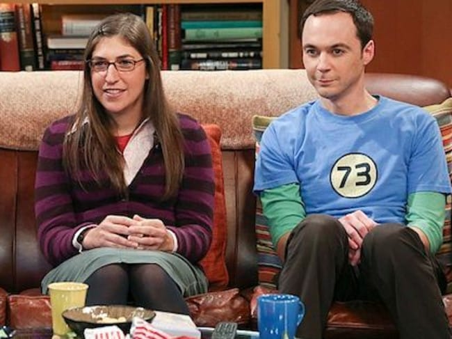 Commitment issues ... Mayim Bialik and Jim Parsons as Amy Farrah Fowler and Sheldon Cooper in The Big Bang Theory.