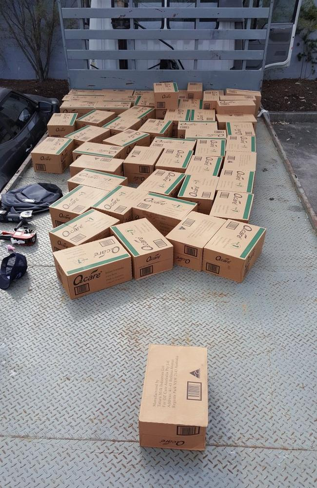 Boxes of stolen baby formula recovered by police.