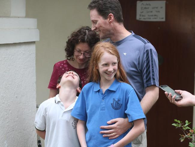 Michelle Levy reunited with her parents and brother yesterday / Picture: Adam Taylor