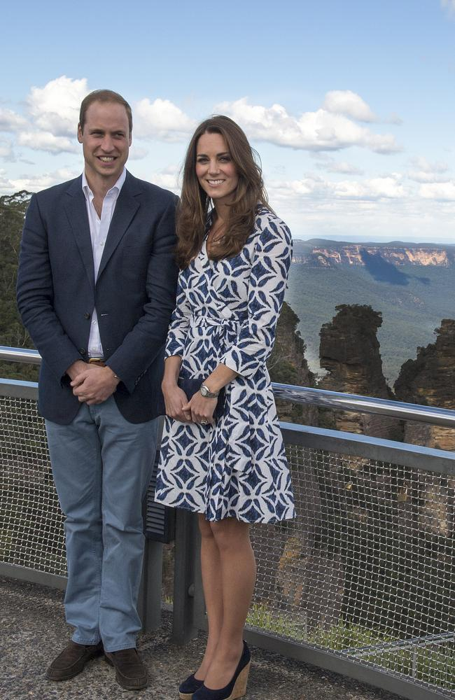 The offending dress ... William and Kate pose near the Three Sisters on the day the pics were snapped. Picture: Getty