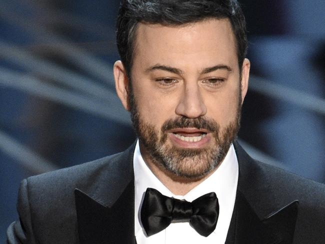 FILE - In this Feb. 26, 2017 file photo, host Jimmy Kimmel appears at the Oscars in Los Angeles. Follow-up heart surgery for Jimmy Kimmel's infant son was postponed because of family colds. In a statement Monday, Oct. 30, 2017, Kimmel's publicist said that Billy Kimmel's scheduled operation was delayed as a precaution. (Photo by Chris Pizzello/Invision/AP, File)
