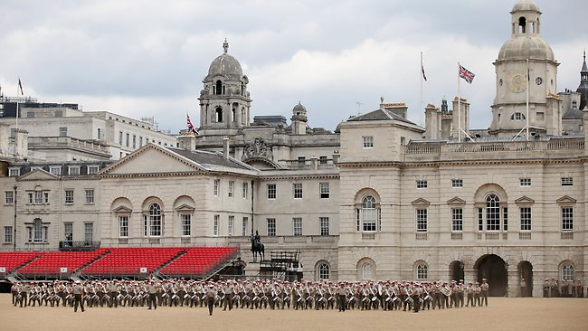 A military band practice on Horse Guards Parade on June 1, 2012 in London, England. With two days to go before the start of the Diamond Jubilee celebrations for Queen Elizabeth II, final preparations are taking place in the capital. (Photo by Oli Scarff/Getty Images)