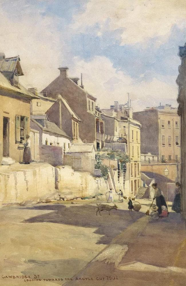 A painting of Cambridge St looking towards the Argyle Cut by Julian Ashton in 1901. Picture: Art Gallery NSW