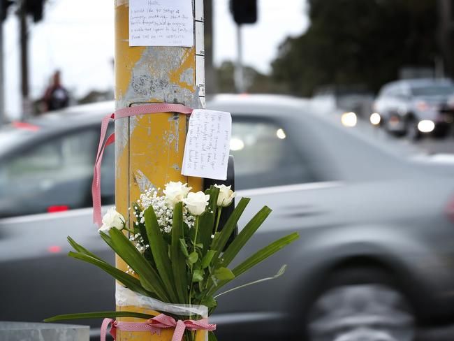 People have begun leaving tributes for the teenager at the notorious intersection. Picture: David Caird