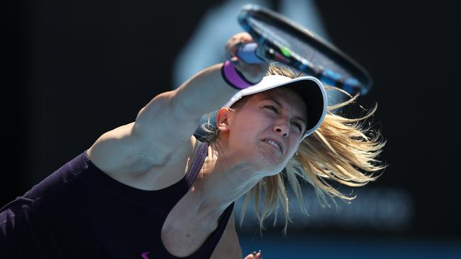 Eugenie Bouchard in action during her round one victory over Shuai Zhang. Picture: Brett Costello